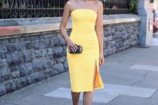 05 strapless yellow knee dress with a side slit and nude ankle strap shoes