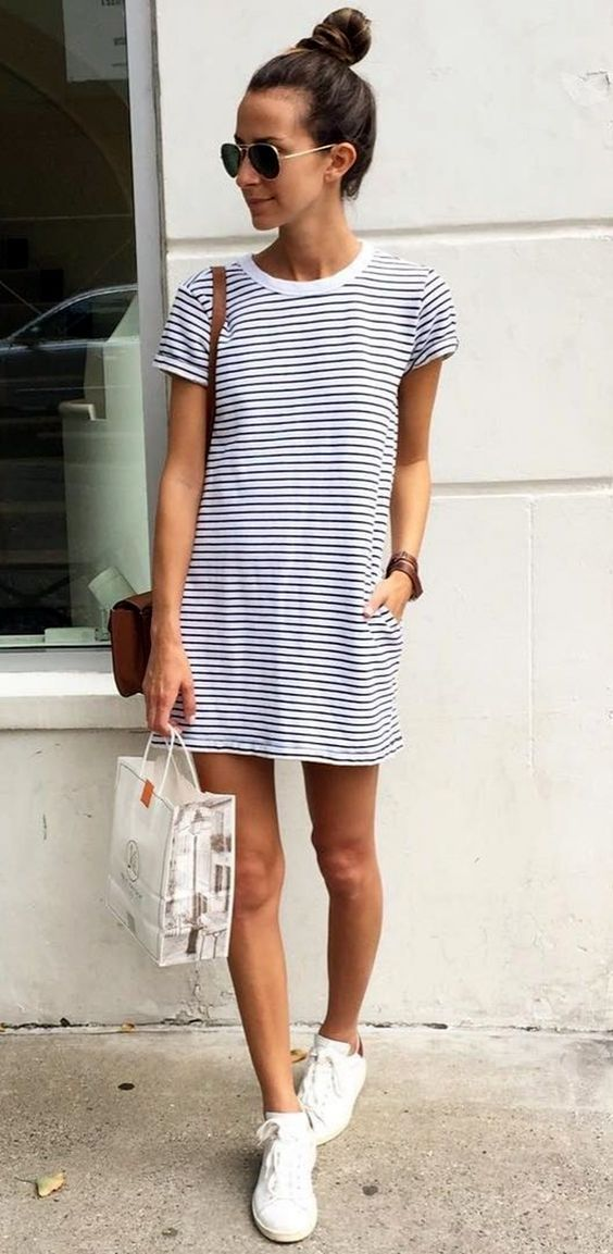a nautical striped mini dress and white sneakers is always a win win idea