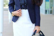 06 a white knee skirt, a navy polka dot shirt and a navy blazer