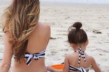 06 black and white striped two piece bathing suits with aqua bows