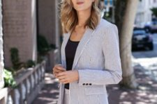 06 black and white vertical stripe suit with a black top