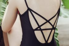 06 black one-piece swimsuit with a strappy star back