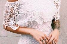 06 crochet lace off the shoulder dress over the knee