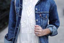 07 a white lace dress with a denim jacket