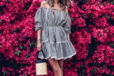 08 a gingham off the shoulder mini dress in black and white, black lace up flat sandals