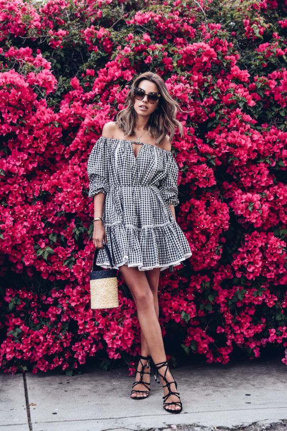 a gingham off the shoulder mini dress in black and white, black lace up flat sandals