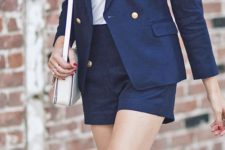 08 a nautical basketweave blazer with tailored shorts and a white top and shoes