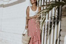 08 a red and white plaid ruffle skirt, a white top and ankle strap shoes