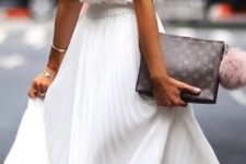 08 a white pleated midi skirt, a white sleeveless top, neutral heels and a clutch
