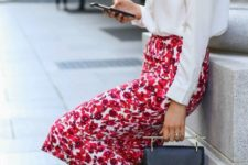 08 a white shirt, a bold red floral pencil skirt and black ankle strap shoes