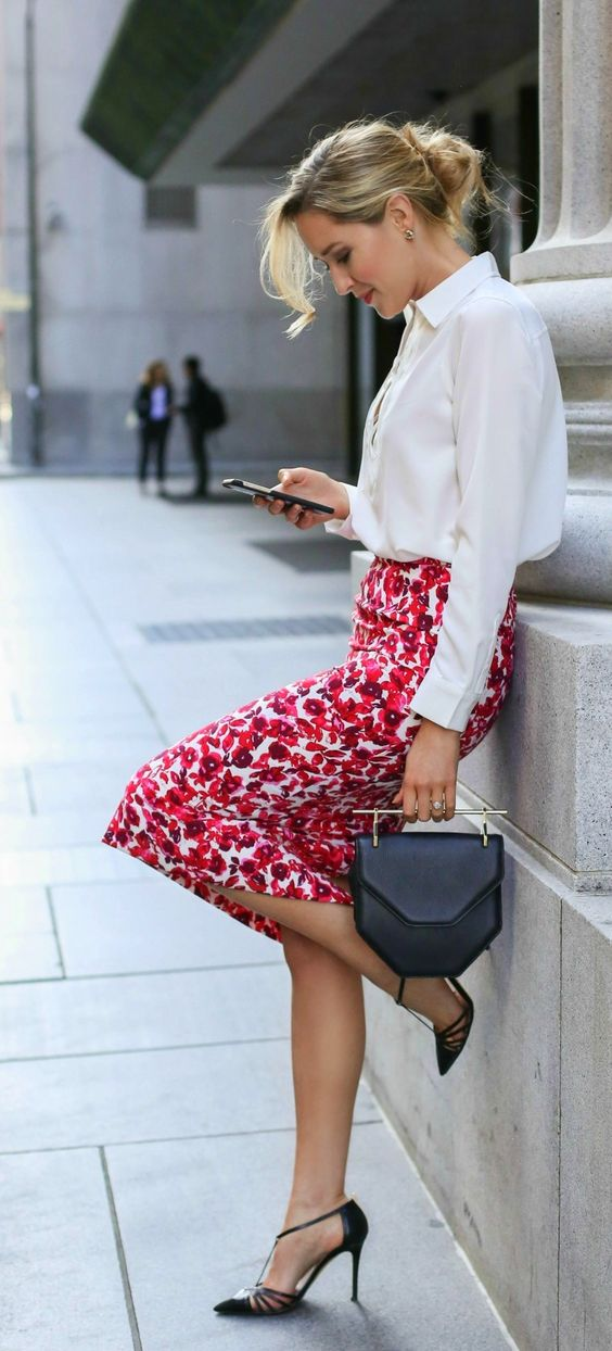 a white shirt, a bold red floral pencil skirt and black ankle strap shoes