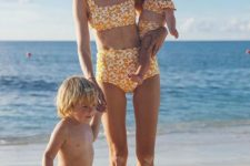 08 retro-inspired two piece high waist swimsuit for the mom and daughter and the son in matching swimming trunks