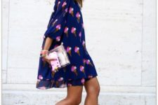 09 a bold blue dress with fuchsia ice cream cone prints and suede fuchsia shoes
