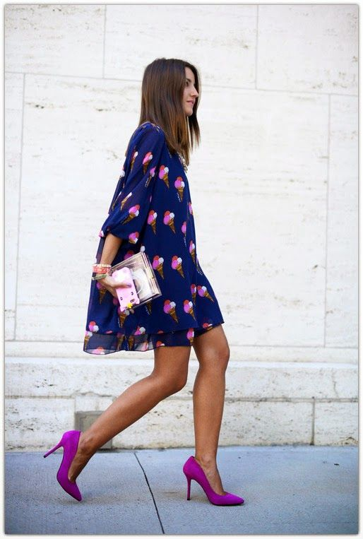 a bold blue dress with fuchsia ice cream cone prints and suede fuchsia shoes