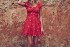 09 a red polka dot mini dress with short sleeves and a square neckline