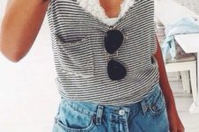 09 a white lace bralette under a striped top with denim shorts