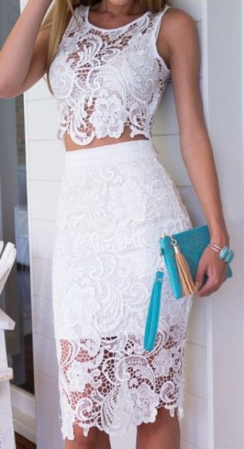 a white lace separate with a sleeveless crop top and a pencil skirt, a turquoise clutch