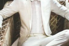 09 a white suit, a white shirt and bow tie, copper shoes for a formal white party