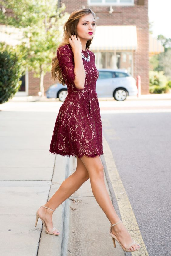 burgundy lace mini dress with half sleeves and nude ankle shoes