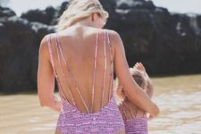 09 strappy one piece pink geo print swimsuits for mom and daughter