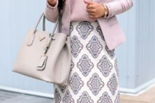 10 a patterned knee skirt, a striped pink V-neckline top and a pink jacket