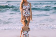 10 matching classic one piece swimsuits with botanical and floral prints for both girls
