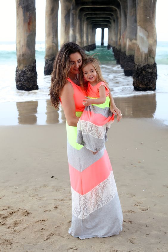 chevron maxi beach coverups for a mom and a daughter