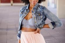 12 a blue bralette with a pink maxi skirt and a crop denim jacket