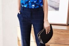 12 a bold sleeveless blue top, navy windowpane ankle pants and heeled sandals