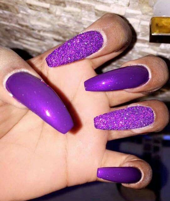 purple and glitter purple long nails look very eye-catchy