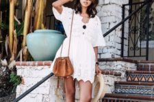 13 a little lace white dress with half sleeves and a cutout edge