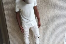 13 a white tee, white distressed jeans and neutral boots