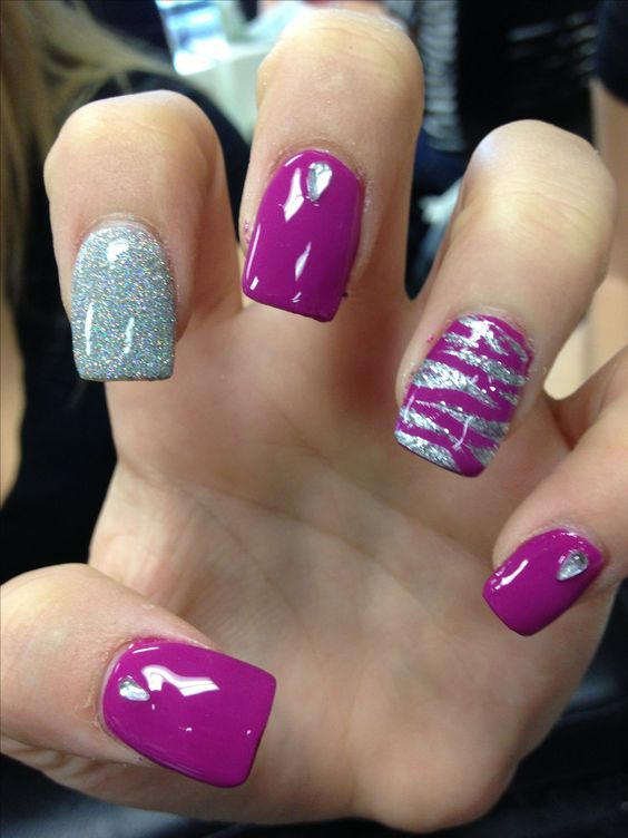Picture Of Purple And Silver Glitter Nails And Accent Nails With An