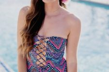 13 strapless colorful printed one piece lace up front simsuit