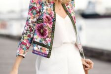 14 a white romper and a floral embroidery crop jacket