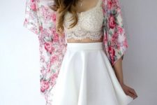 14 a white skater skirt, an ivory lace bralette and a floral kimono