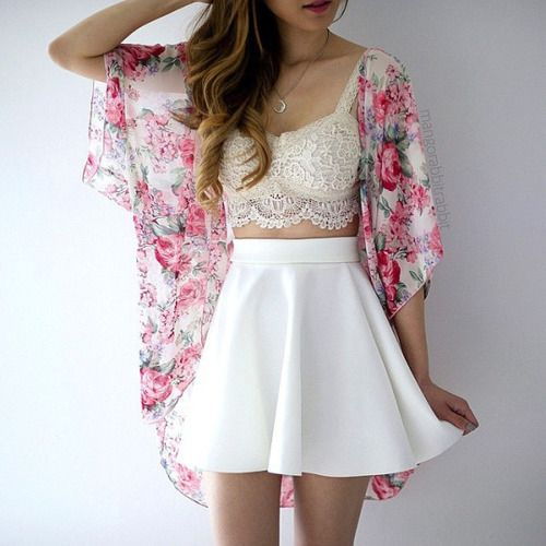 a white skater skirt, an ivory lace bralette and a floral kimono