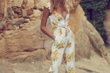 14 ankle lemon print jumpsuit with pockets and platform shoes