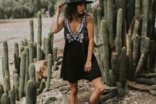 14 black V-neckline embroidered boho dress with a V-neckline and black flats