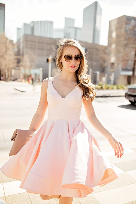 pink flounce strap dress with a V-neckline