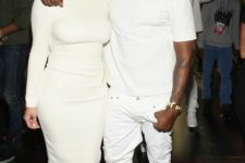 14 white jeans, a white tee and grey chucks by Kanye West