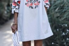 15 boho off-the-shoulder floral embroidery mini dress with sleeves