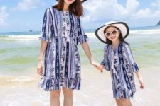 15 matching printed blue beach dresses for the mom and her girl
