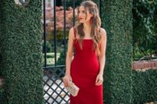 15 red thin strap fitting midi dress with nude heels and tassel earrings