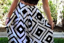 16 a black lace bralette with a geometric print maxi skirt and a clutch