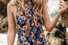16 navy orange floral one piece swimsuit with front lacing up