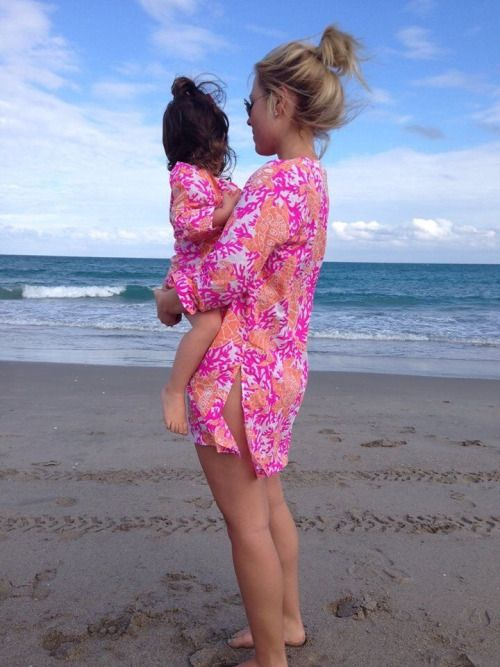 pink turtle print beach coverups for the mom and daughter