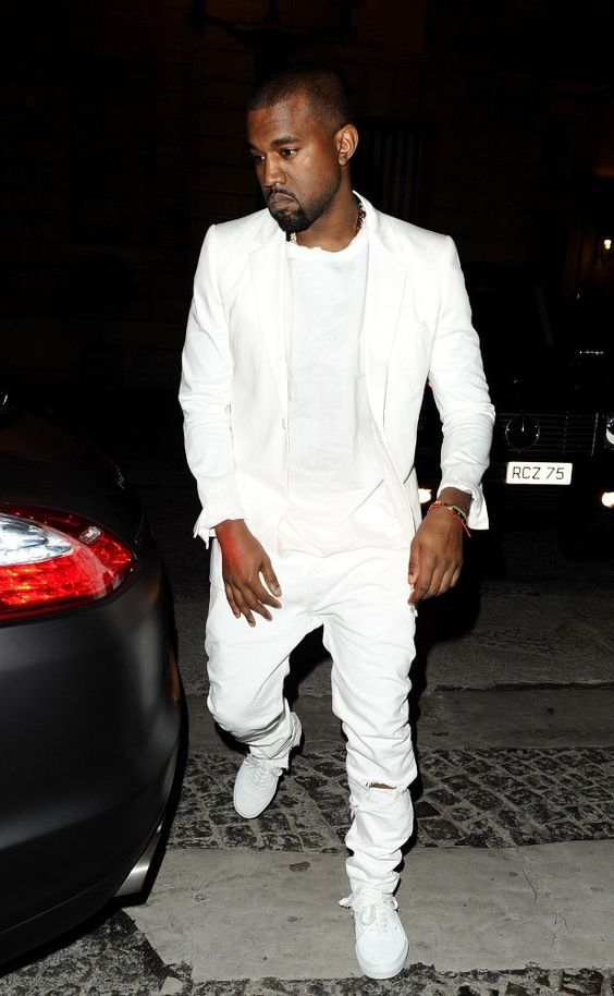 white ripped jeans, a white tee, a white jacket and white sneakers