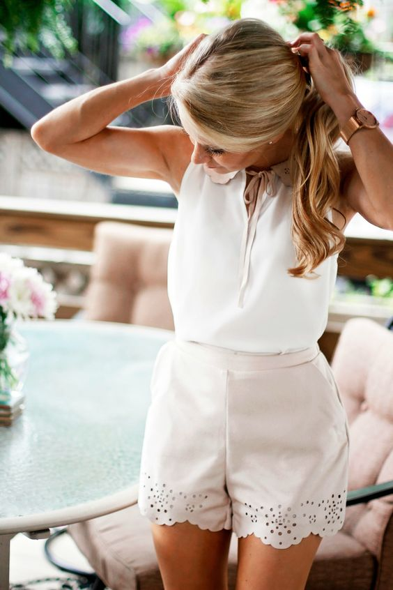 ivory perforated shorts, a white lace up top for a preppy summer look