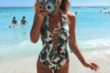 17 leaf one piece lacing up swimsuit